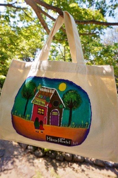 画像1: atelierアトリエ ハンドペイントオリジナルバッグ 小さめ絵本バッグ ヘンゼルとグレーテル AB32 (1)