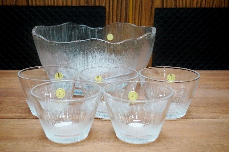 夏にぴったり☆HOYA 保谷クリスタル ガラスの大鉢 小鉢セット 素麺などにも GUS214
